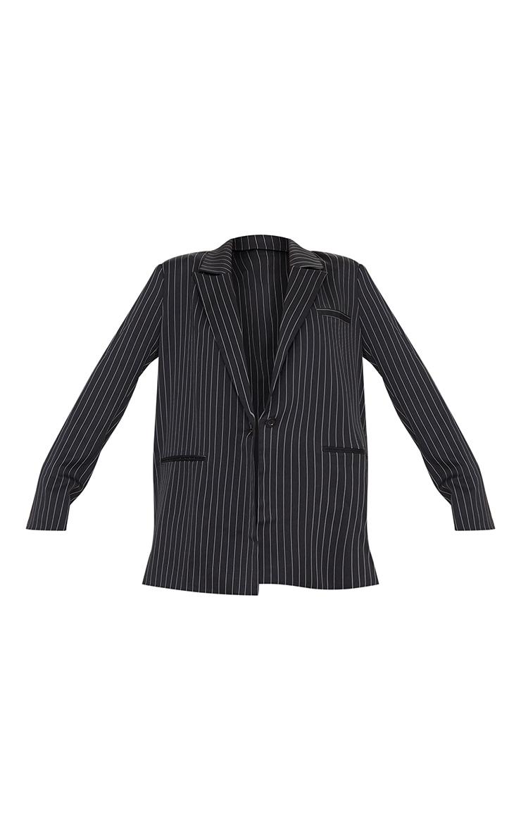 Black Pinstripe Oversized Dad Blazer 5