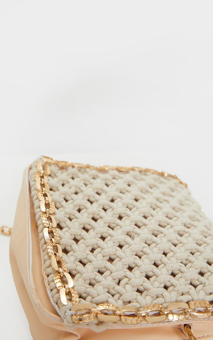 Cream Woven Gold Trim Cross Body Bag 4