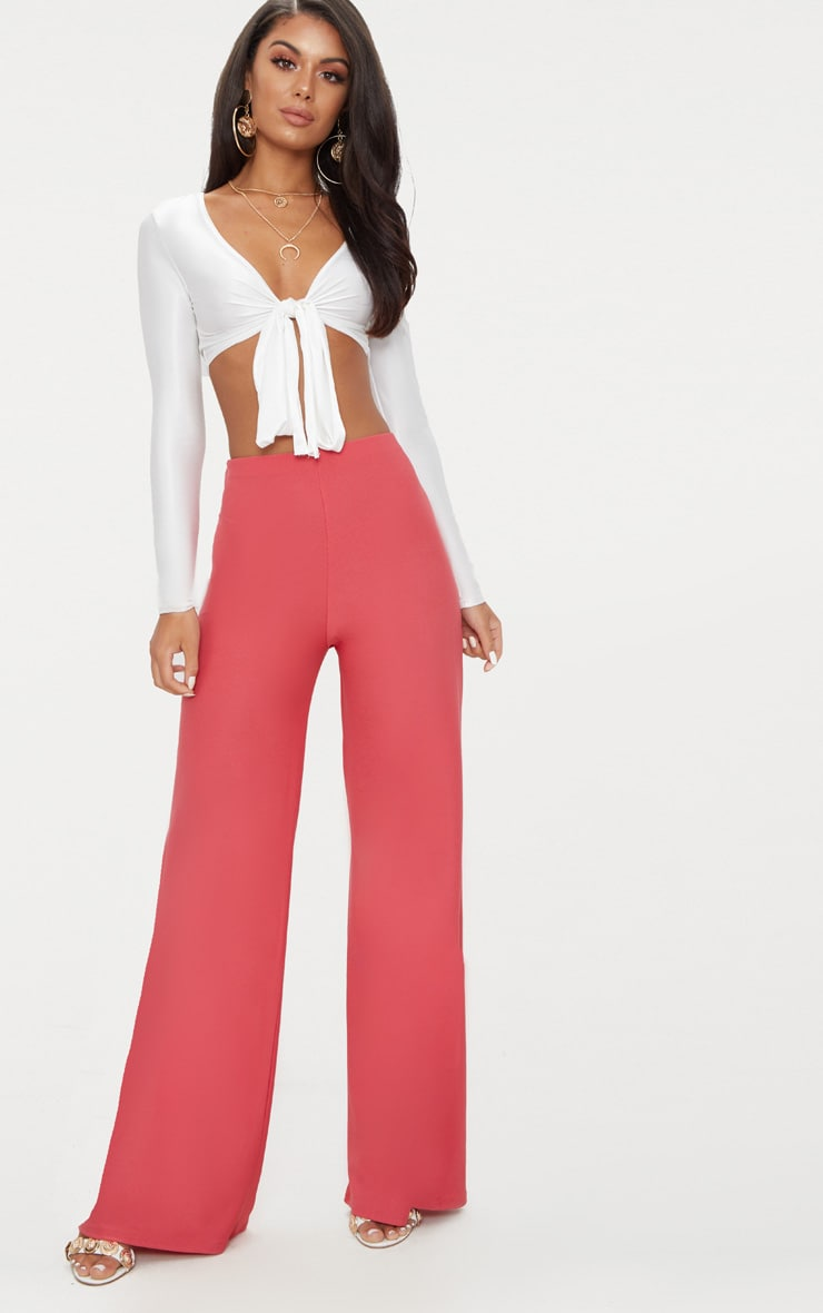 Berry High Waisted Wide Leg Trousers 1