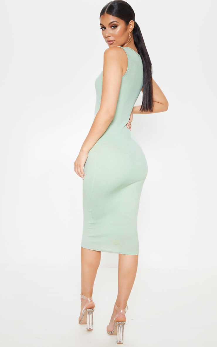 Sage Khaki Ribbed Midi Dress 2