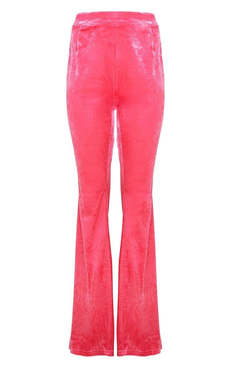 Hot Pink Velvet Tailored Extreme Flared Trouser 4