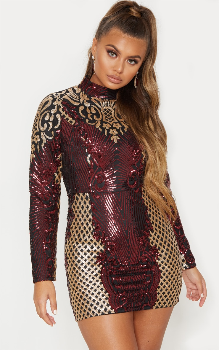 Black High Neck Sequin Bodycon Dress 2
