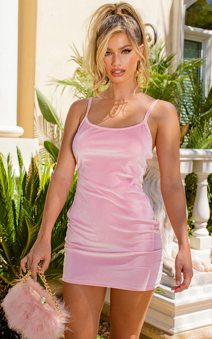 Baby Pink Strappy Velvet Bodycon Dress