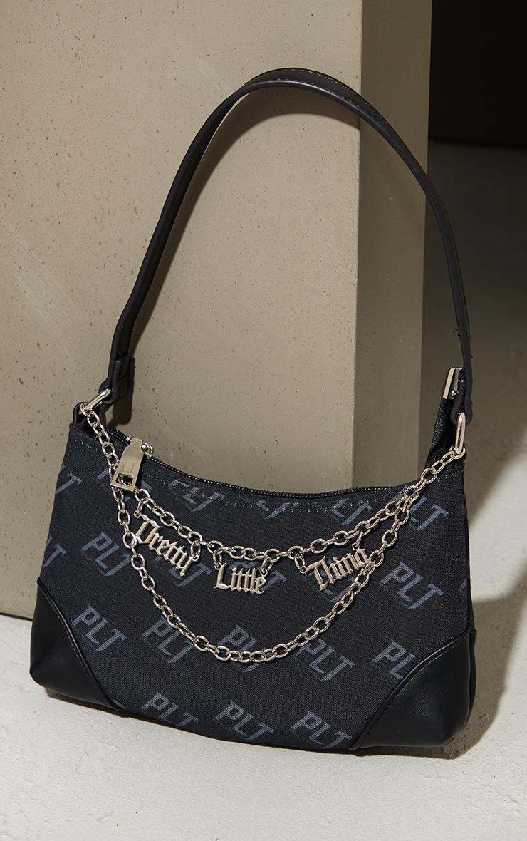 PRETTYLITTLETHING Black Monogram Gold Chain Shoulder Bag 1