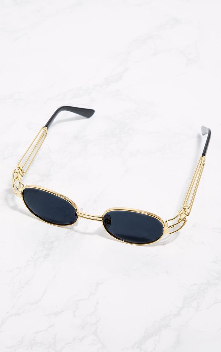Gold Black Lens Oval Metal Frame Sunglasses 3