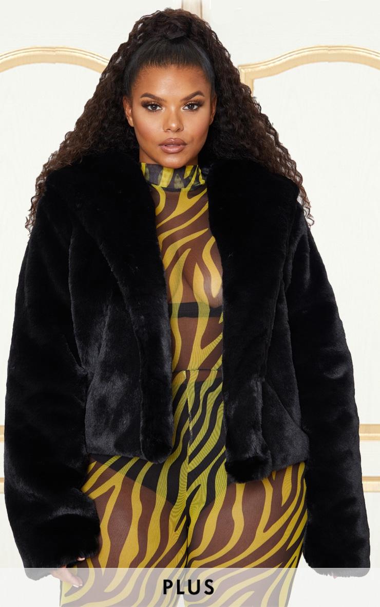 Plus Black Cropped Faux Fur Hooded Coat 1