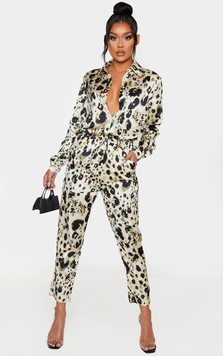 Cream Leopard Print Cigarette Pants 1