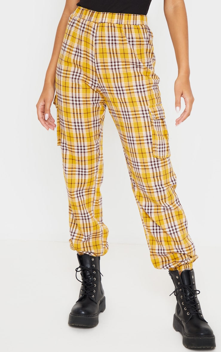 Yellow Check Pocket Detail Cargo Pants 2