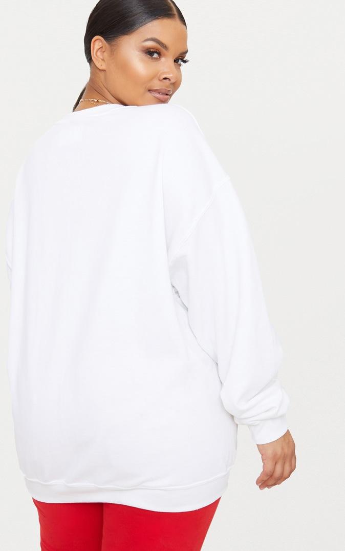 Plus White New York Slogan Sweater 2