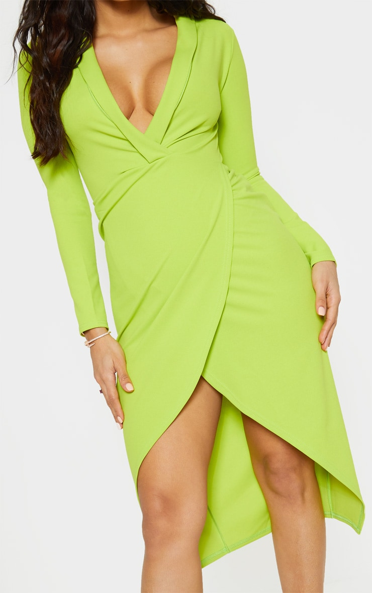 Neon Lime Plunge Split Leg Midi Dress 5