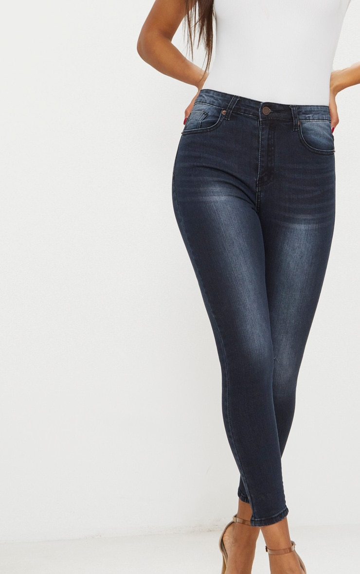 Washed Black High Waisted 5 Pocket  Skinny Jean 5