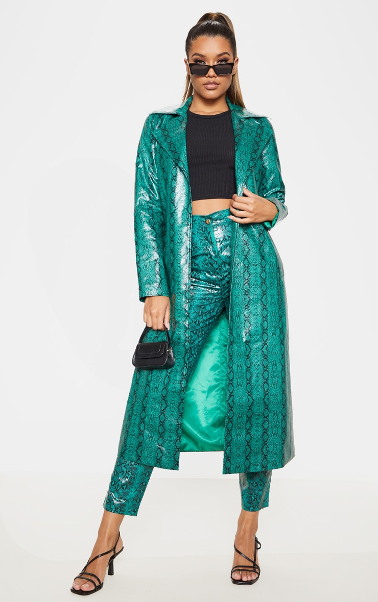 Emerald Green Snake PU Trench 1