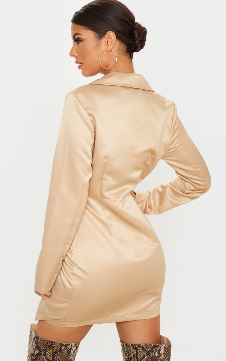 Champagne Satin Button Detail Tailored Long Sleeve Blazer Dress 2