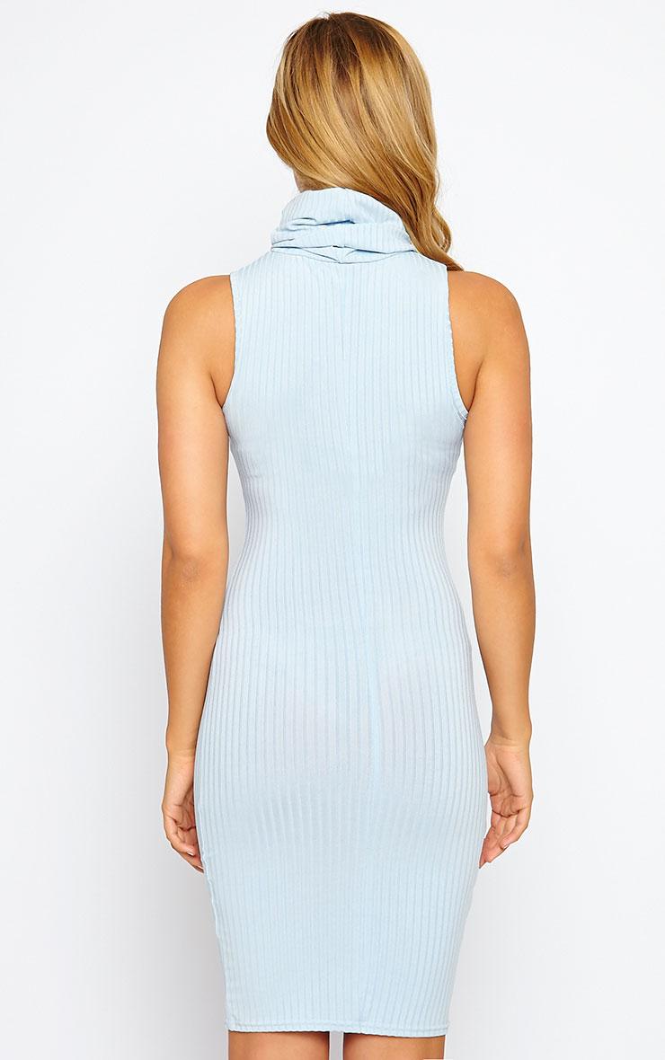 Marissa Powder Blue Ribbed Turtle Neck Mini Dress 2