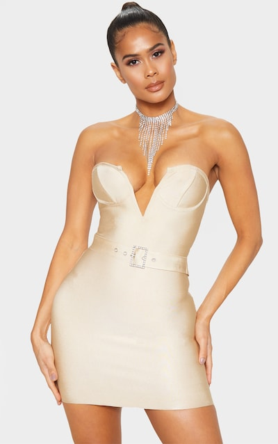 Nude Bandage V Bar Diamante Buckle Bodycon Dress