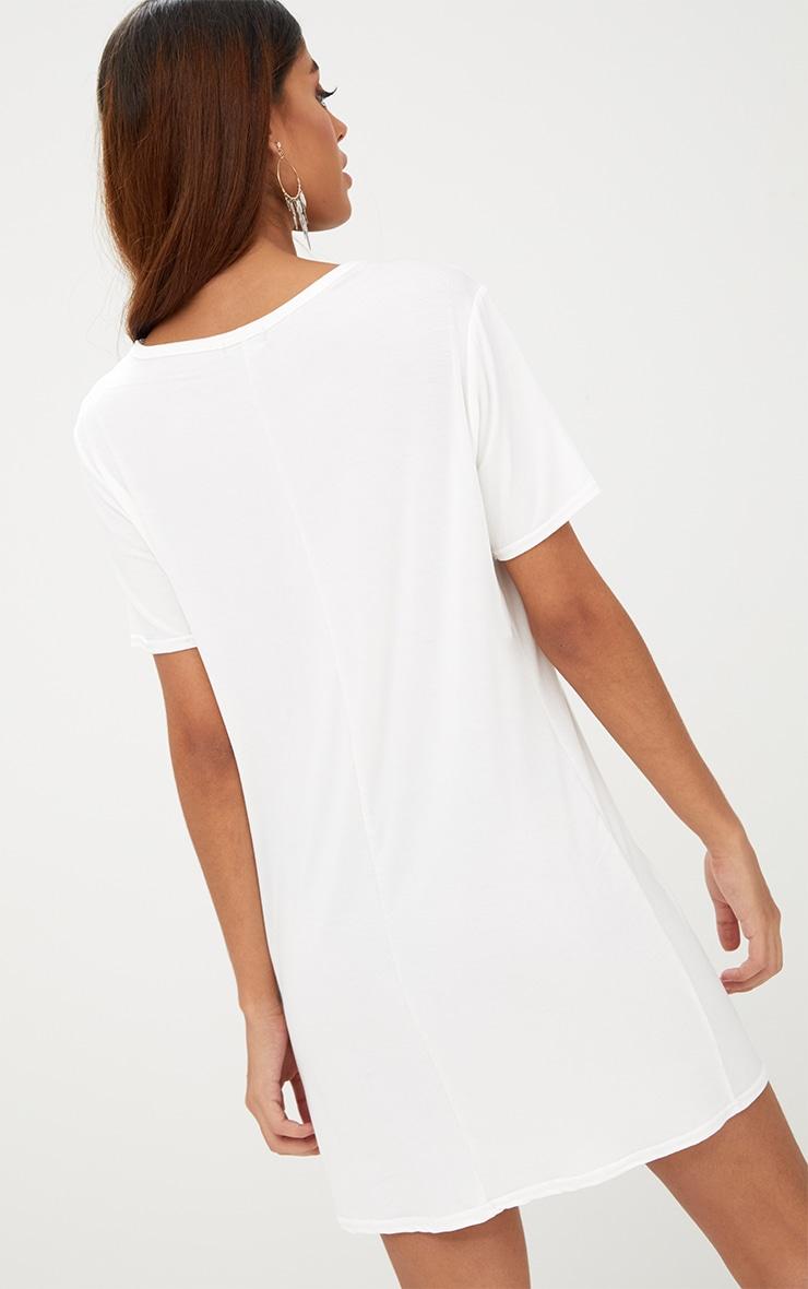 White Embroidered Insert T Shirt Dress 2