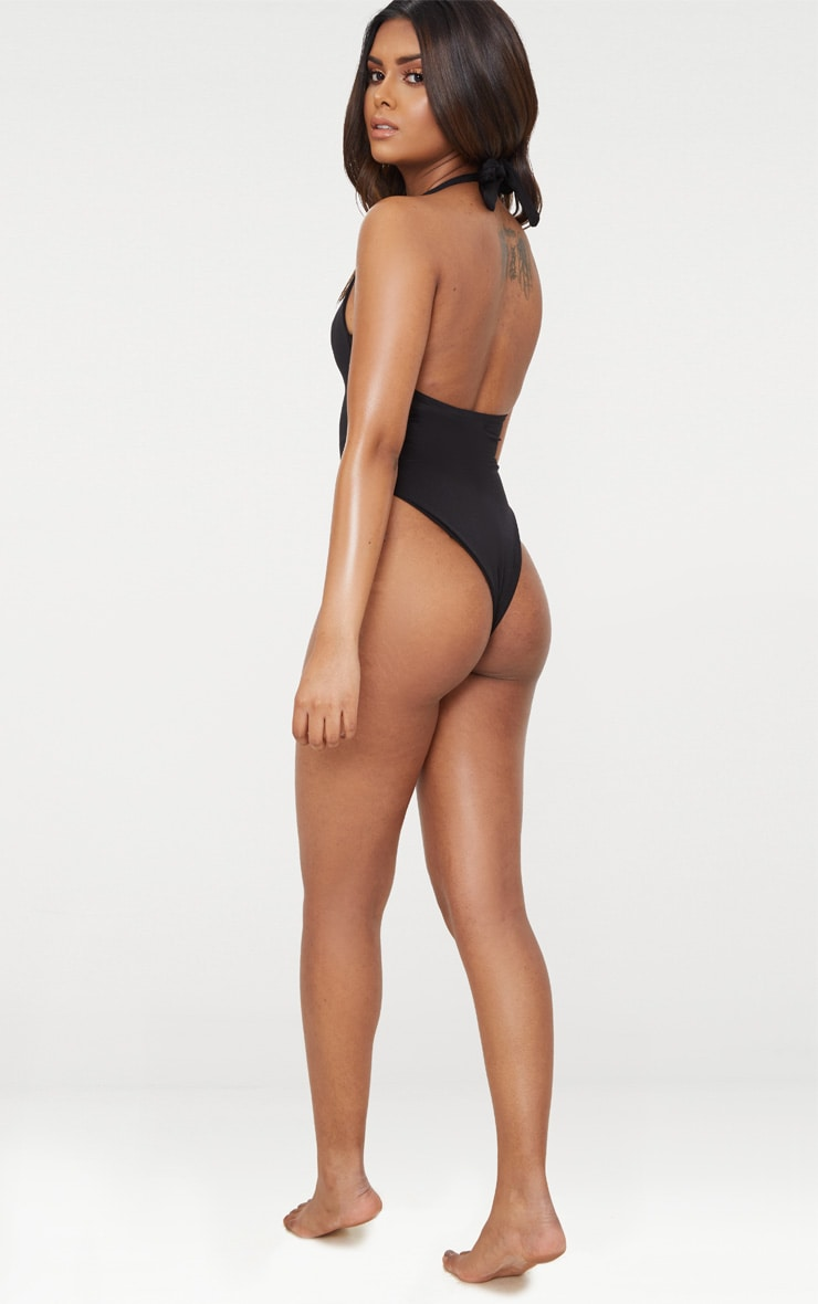 Petite Black High Leg Swimsuit 2
