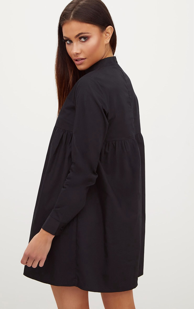 Black Cotton Poplin High Neck Smock Dress 2