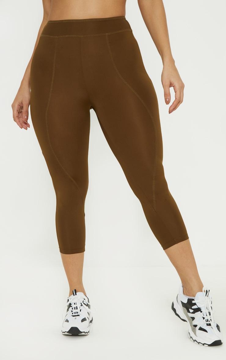 Khaki Stitch Cropped Gym Legging 2