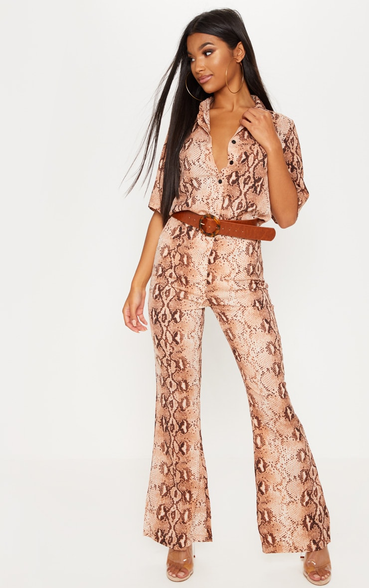 Brown Chiffon Snake Print High Waisted Flare Leg Trouser