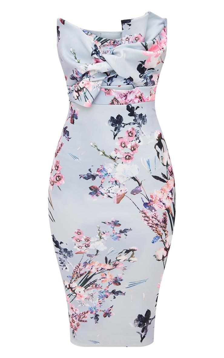 Dusty Blue Floral Bow Detail Scuba Midi Dress 3