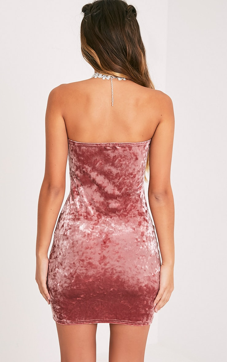 Shany Dusty Pink Velvet Bandeau Bodycon Dress  2