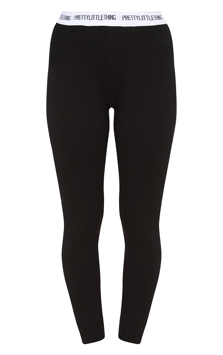 PRETTYLITTLETHING Petite Black Slogan Waistband Leggings 2