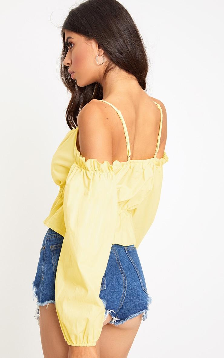 Yellow Cold Shoulder Crop Shirt 2