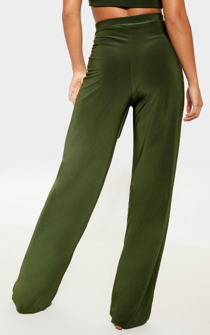 Petite - Pantalon slinky ample vert  4