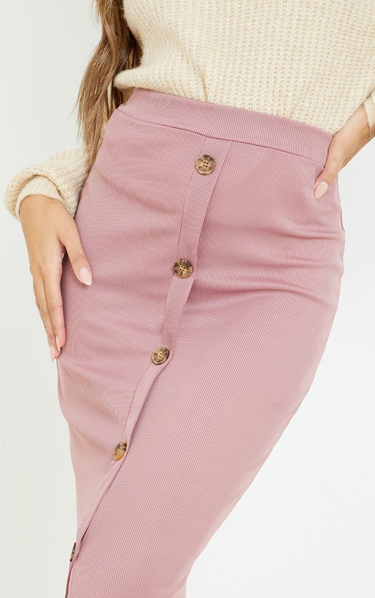 Mauve Rib Button Front Midaxi Skirt 4