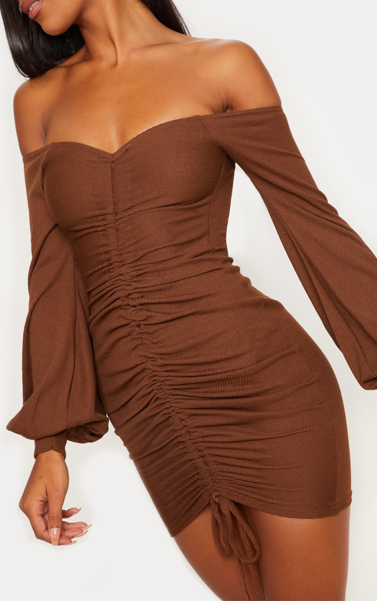 Chocolate Brown Ribbed Bardot Balloon Sleeve Ruched Bodycon Dress 5