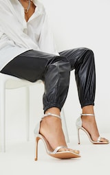 Silver Clover Barely There Strappy Squared Toe Heeled Sandals 1