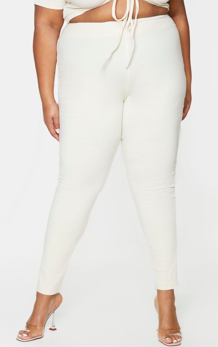 Plus Cream Thick Rib Leggings 2