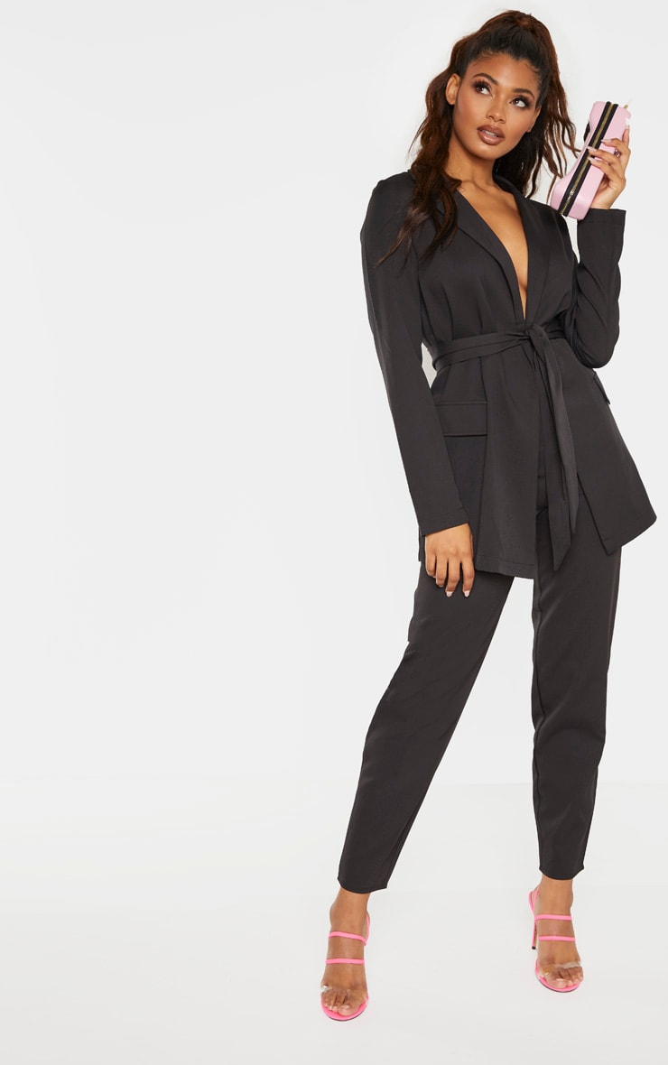 Tall Black Wide Leg Slim Cuff Suit Pants 1