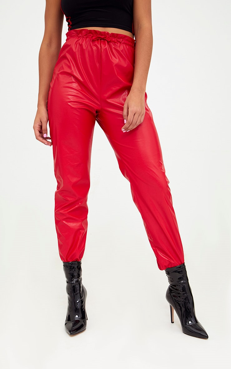 Red Faux Leather Paperbag Joggers 2