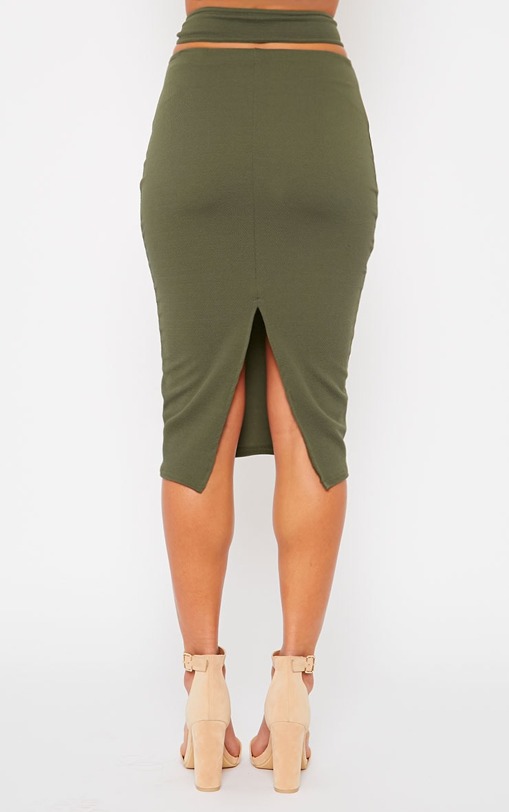 Shanel Khaki Cut Out Midi Skirt 4