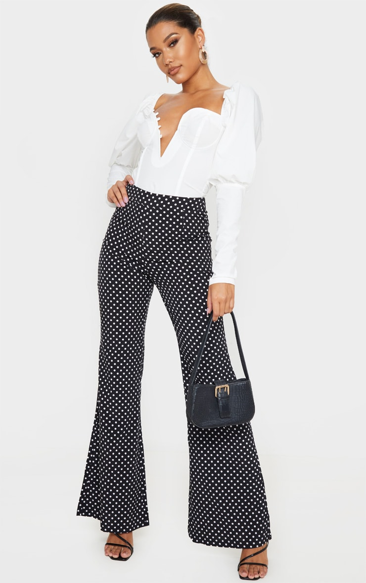 Black Polka Dot Print Wide Leg Pants 1