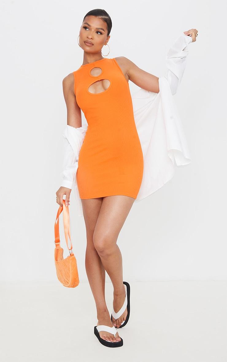 Orange Rib Cut Out Detail Sleeveless Bodycon Dress image 3
