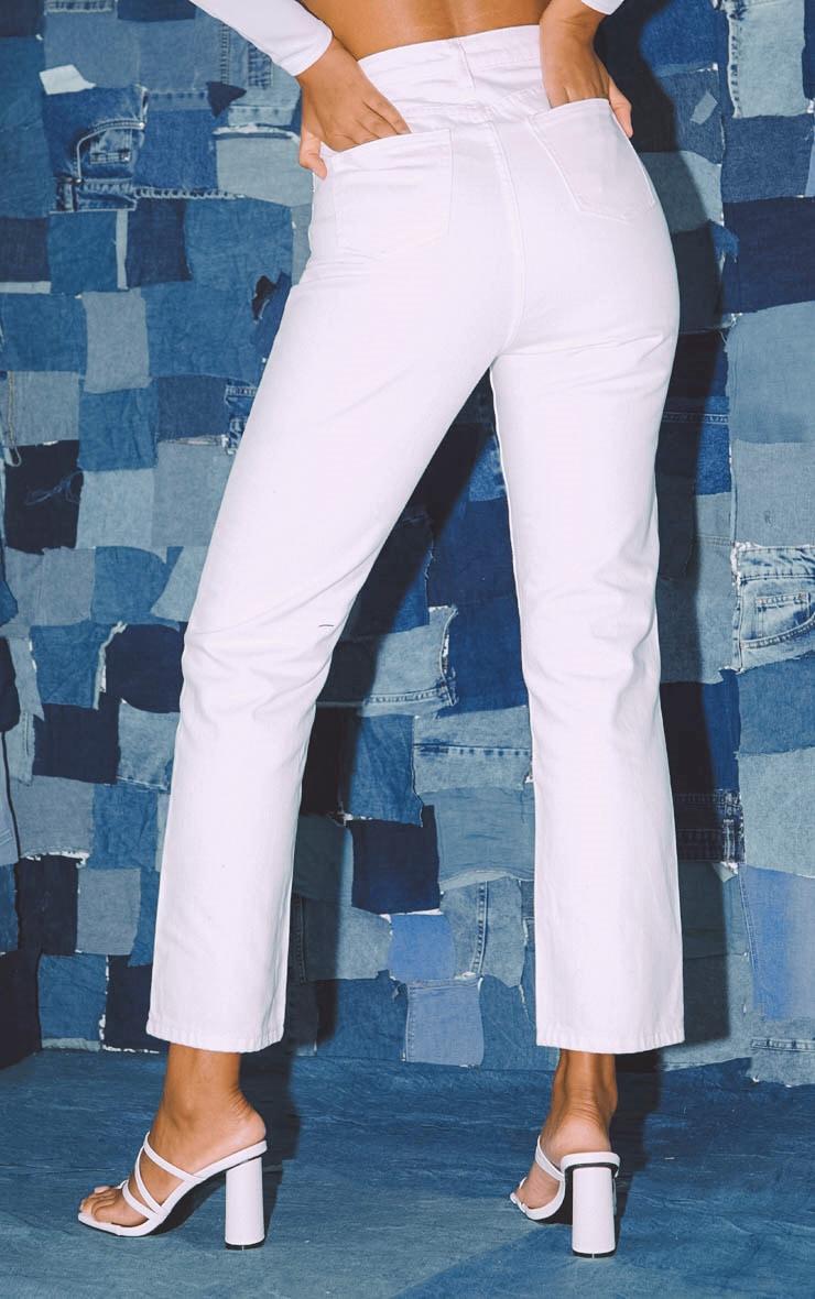 PRETTYLITTLETHING White Straight Leg Jeans  4