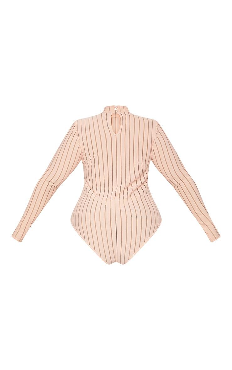 Plus Nude Burn Out Striped Mesh Bodysuit 4