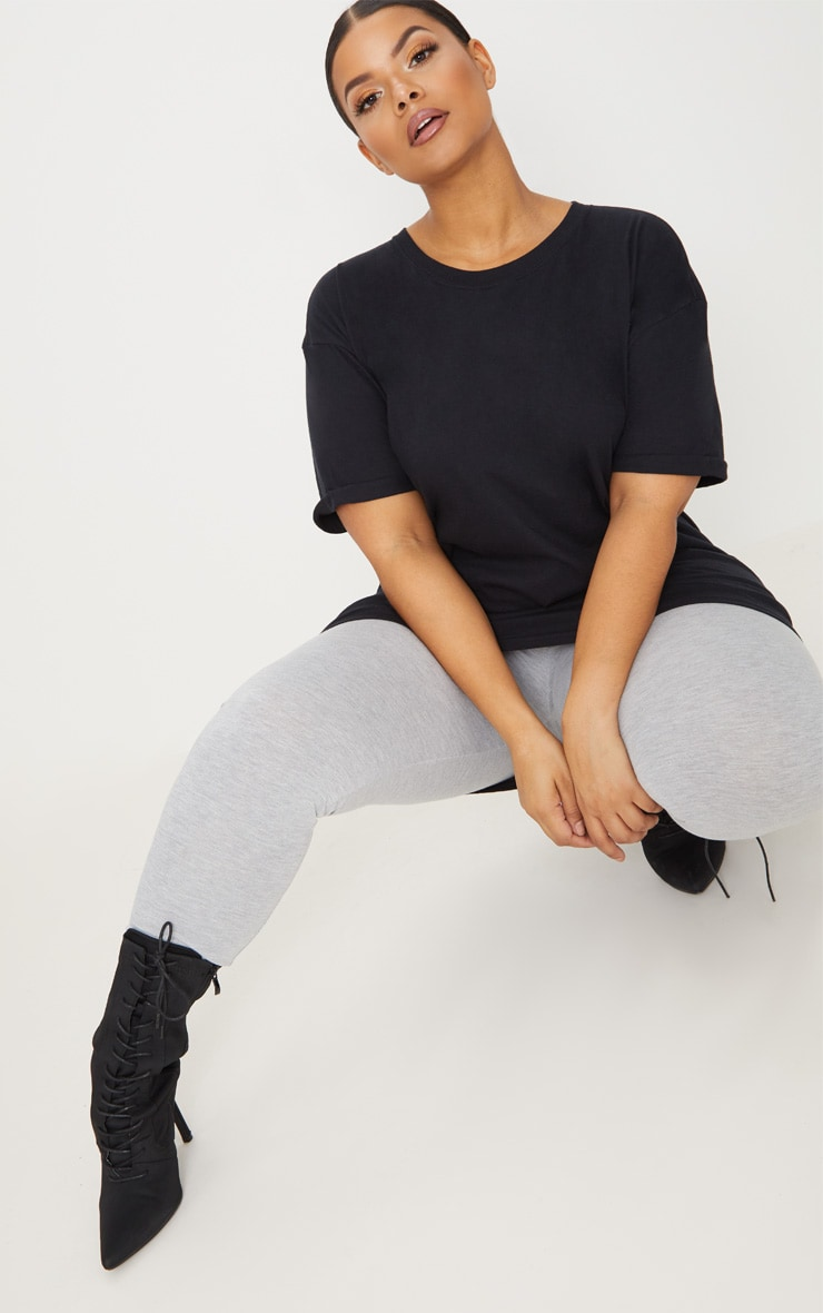 Plus Black Oversized Boyfriend T Shirt  4