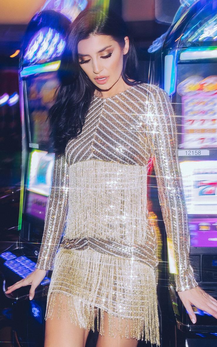 Lorannia Gold Premium Sequin Fringed Bodycon Dress 1