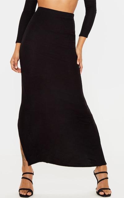 Black Brushed Rib Midaxi Skirt