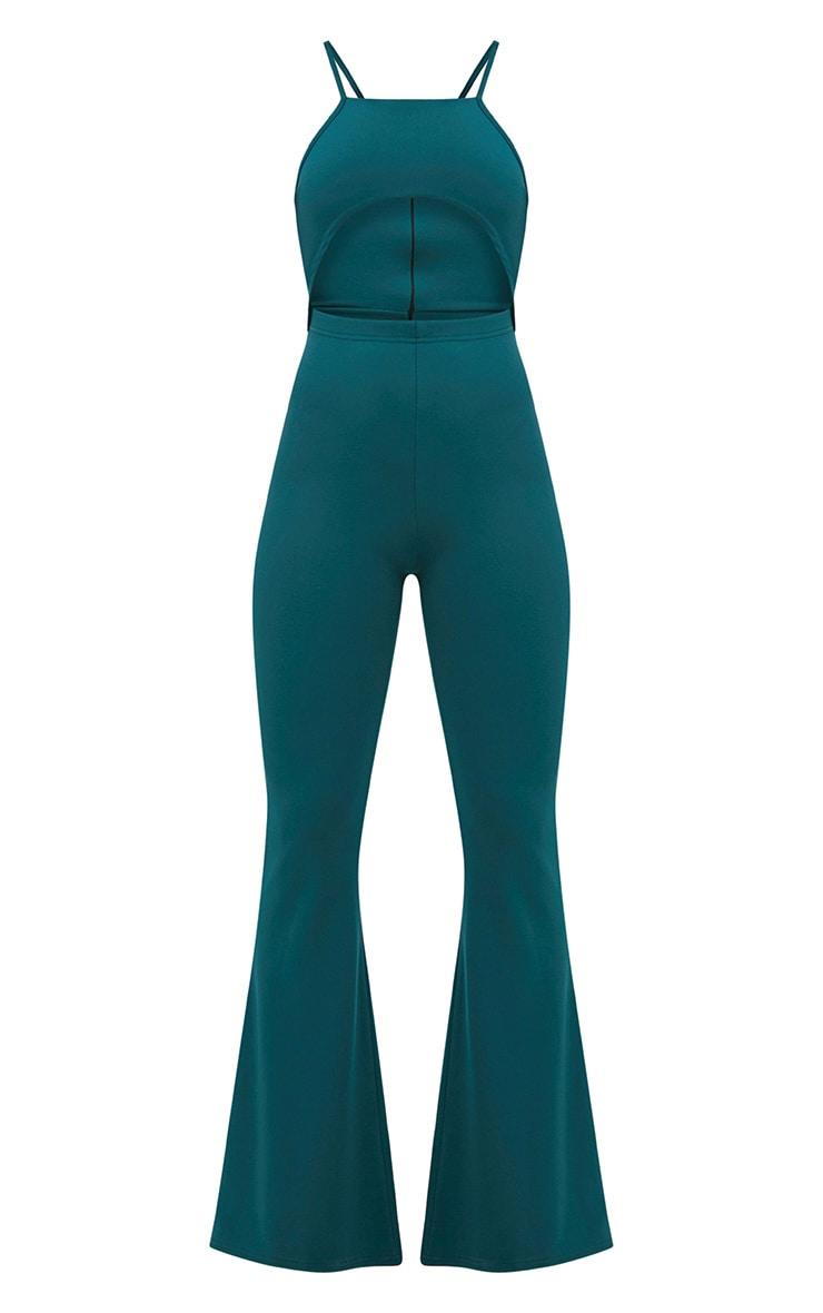 Forest Green Open Middle Wide Leg Jumpsuit 3