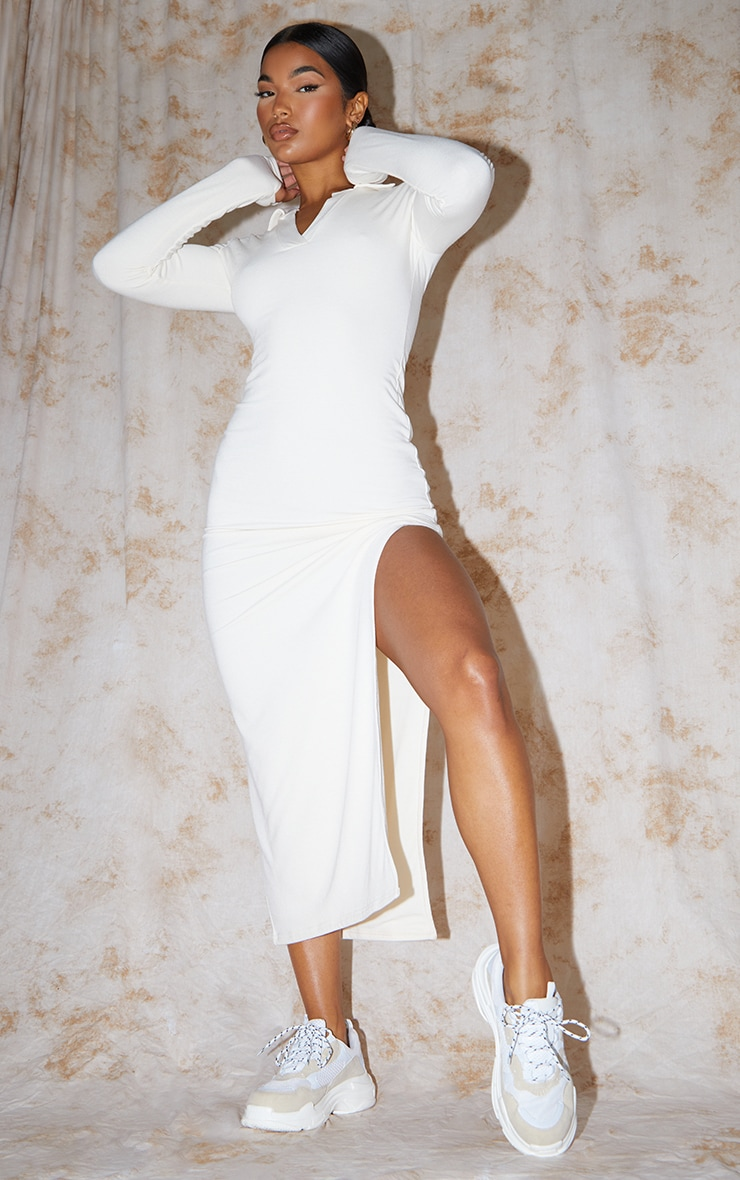 Recycled Cream Contour Jersey Split Detail Thumb Hole Midaxi Dress 2
