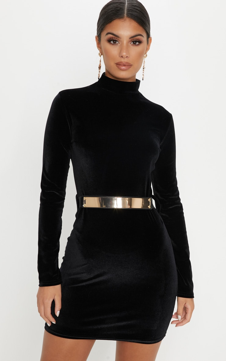 Black Velvet High Neck Belted Bodycon Dress