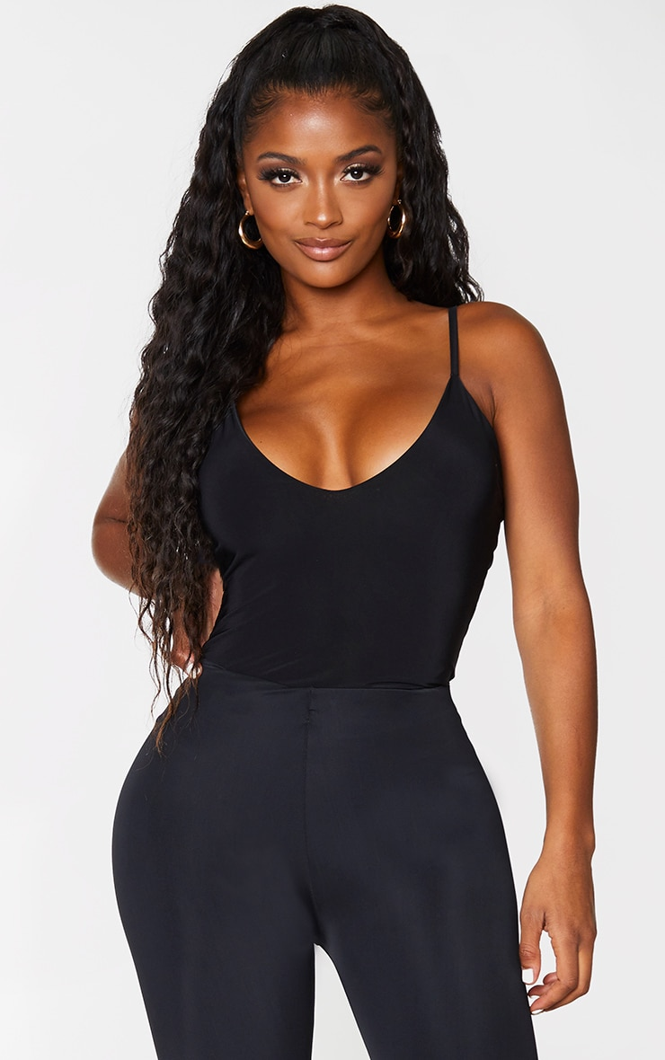 Shape Black Slinky Double Layer Bodysuit 1