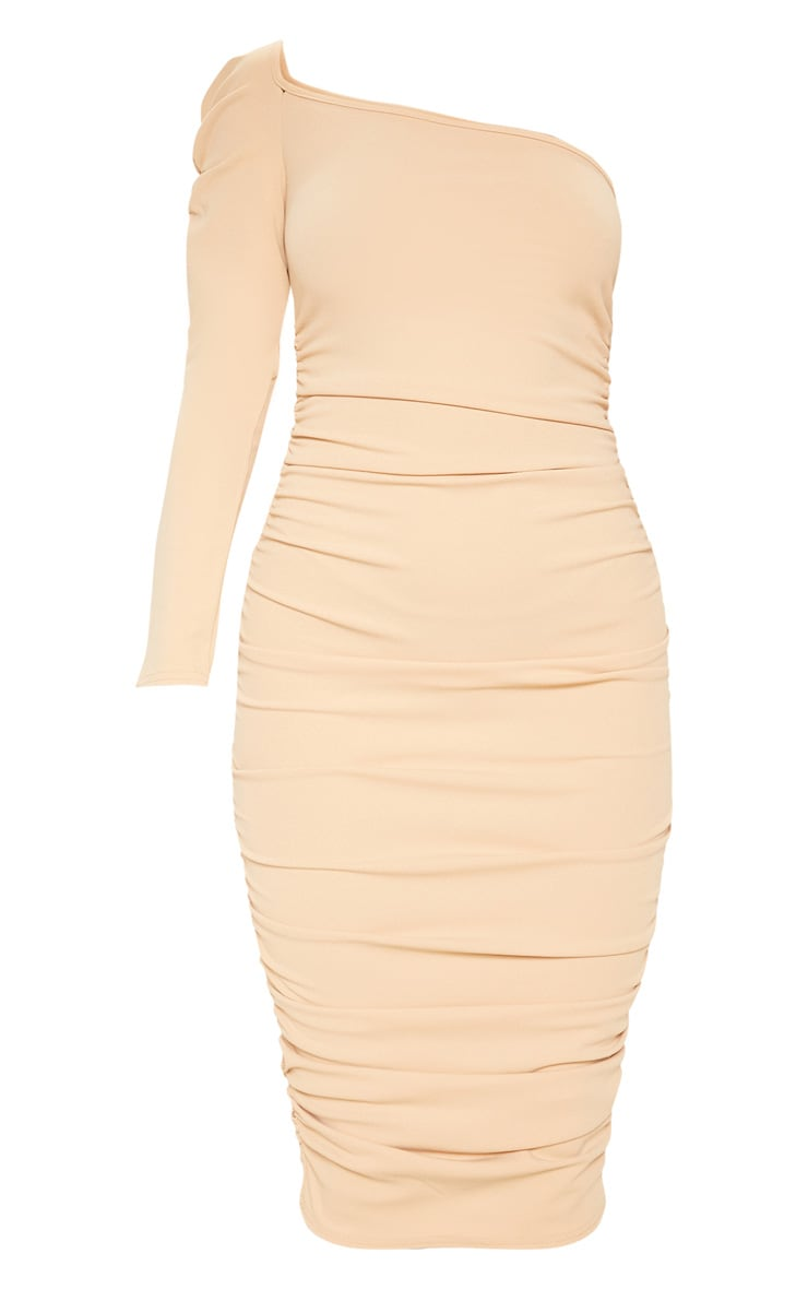 Stone One Shoulder Ruched Detail Midi Dress 3