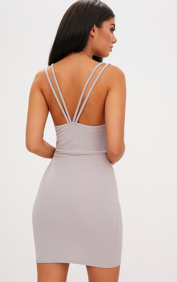 Ice Grey Double Strap Wrap Skirt Bodycon Dress 2