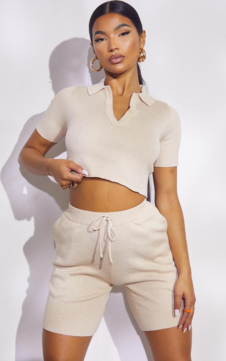 Stone Premium Ribbed Knitted Collar Detail Shorts Set 1